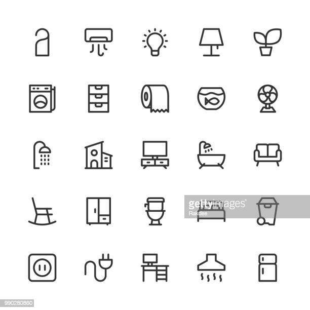 home and living icons - line series - toilet planter stock illustrations