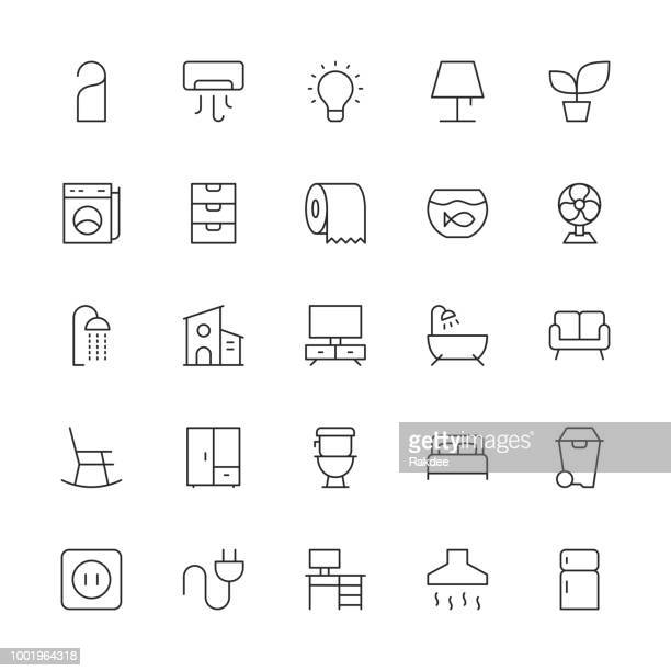 home and living icons - thin line series - toilet planter stock illustrations