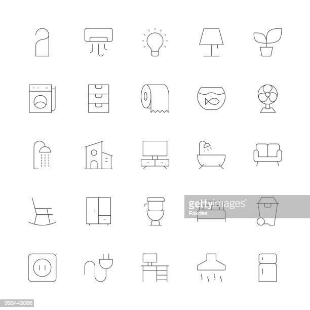 ilustrações de stock, clip art, desenhos animados e ícones de home and living icons - ultra thin line series - planta de vaso