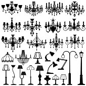 Home and outdoor lightning, lamps and chandeliers vector set