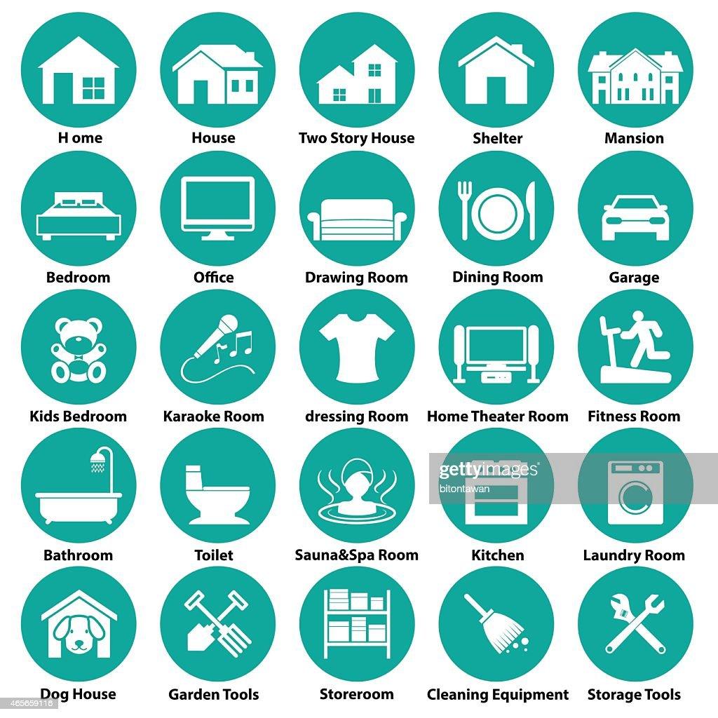 Home and room icon circular symbols