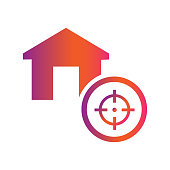 home and target  vector icon concept