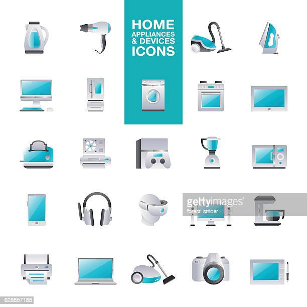 home appliances & devices icons - iron appliance stock illustrations, clip art, cartoons, & icons