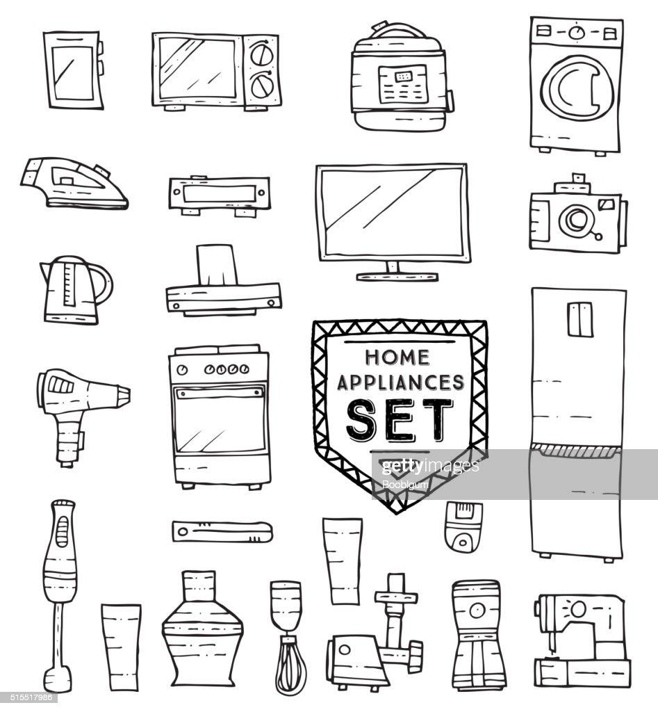 Home appliances doodle set. Vector illustration.
