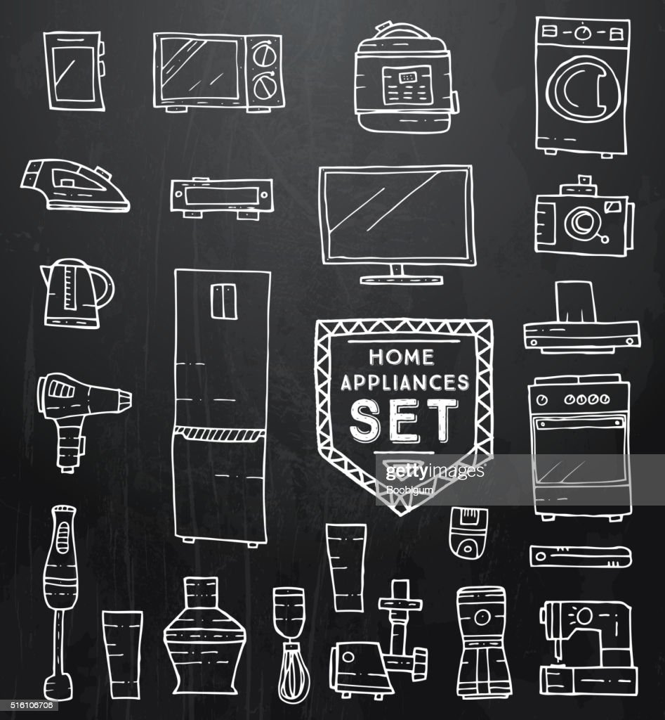 Home appliances doodle set. Vector illustration.