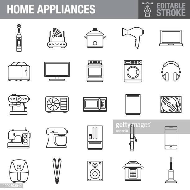illustrazioni stock, clip art, cartoni animati e icone di tendenza di set di icone del tratto modificabile degli elettrodomestici - televisore