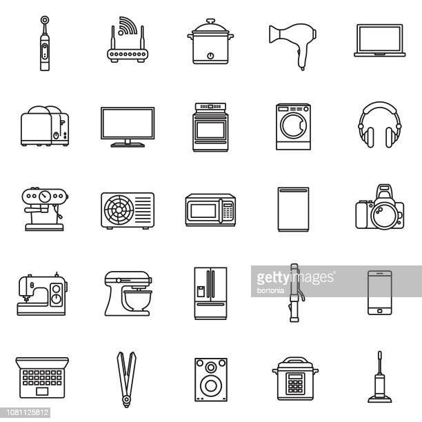home appliances flat design icon set - electric toothbrush stock illustrations