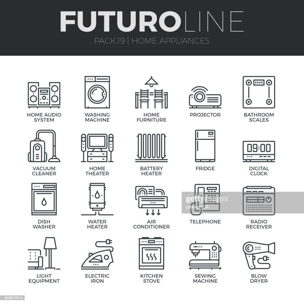 Home Appliances Futuro Line Icons Set