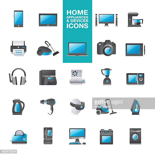 home appliances & hardware devices icons - iron appliance stock illustrations, clip art, cartoons, & icons