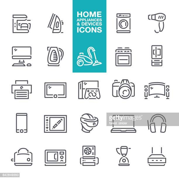 Home Appliances & hardware devices line icons