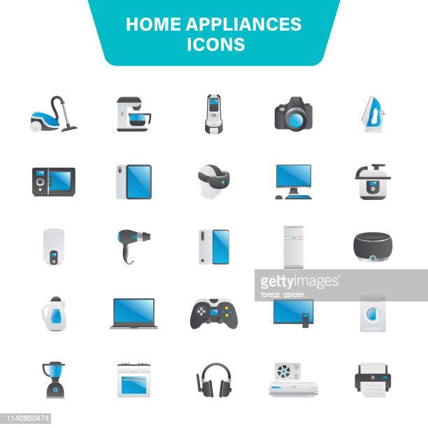 home appliances icon set - boiler stock illustrations, clip art, cartoons, & icons