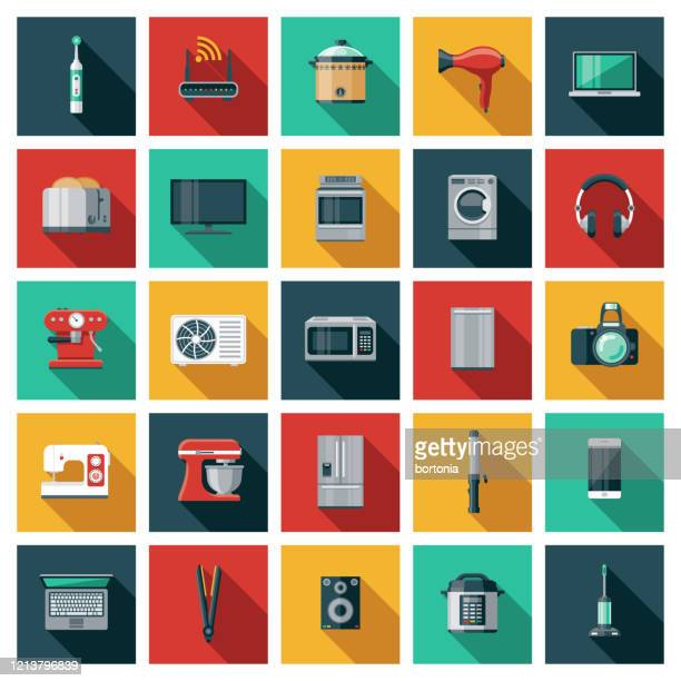 home appliances icon set - electric toothbrush stock illustrations
