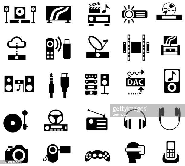 home appliances icons - audio visual - dvd stock illustrations