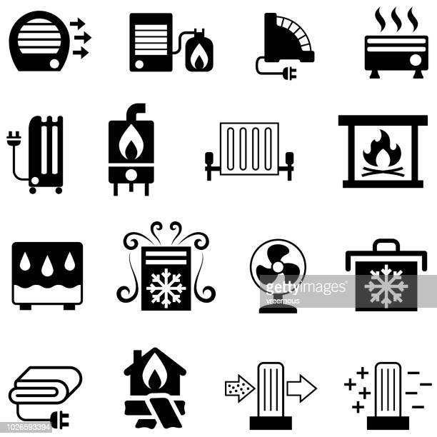home appliances icons - heating & cooling - electric heater stock illustrations, clip art, cartoons, & icons