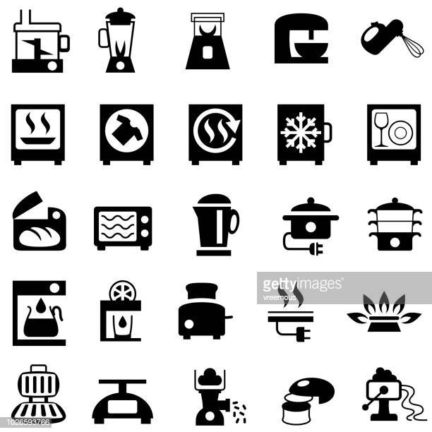 home appliances icons - kitchen - toaster appliance stock illustrations, clip art, cartoons, & icons