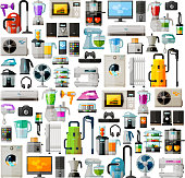 home appliances icons set. vector. flat illustration