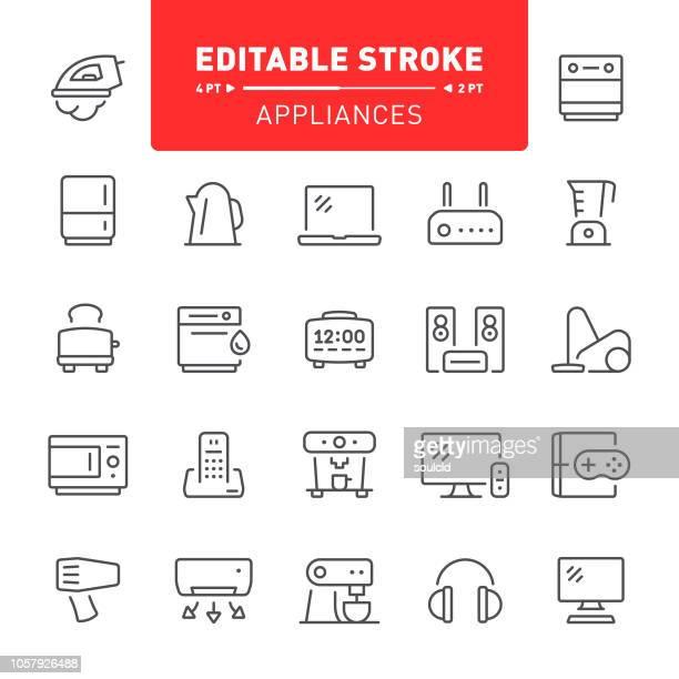illustrazioni stock, clip art, cartoni animati e icone di tendenza di icone degli elettrodomestici - hi fi