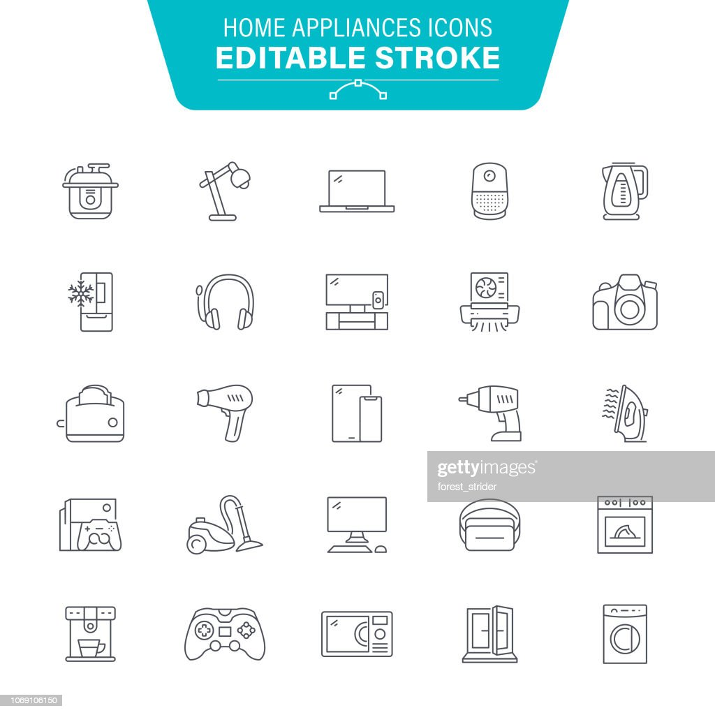 Home Appliances Line Icons : stock illustration