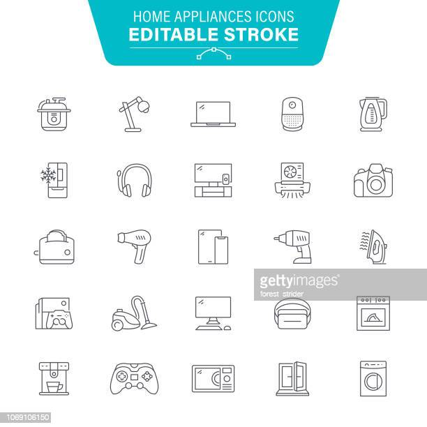 home appliances line icons - exhaust fan stock illustrations, clip art, cartoons, & icons