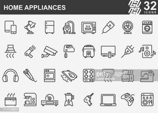 home appliances line icons - appliance stock illustrations