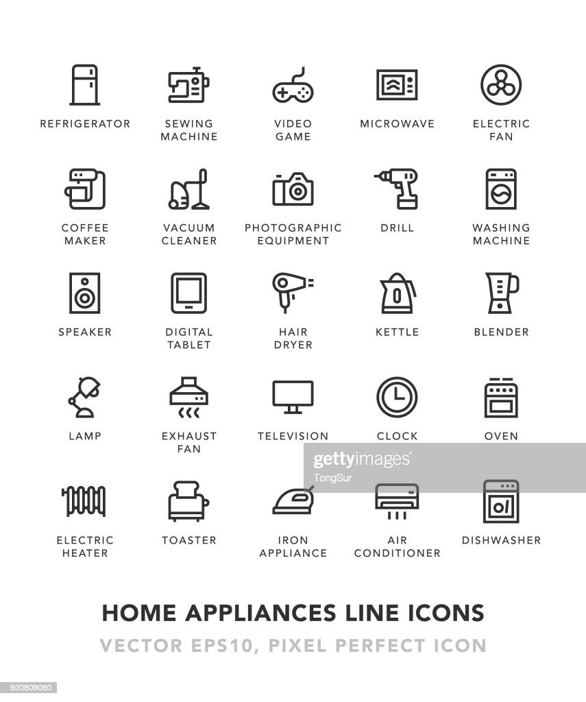 Home Appliances Line Icons : stock illustration