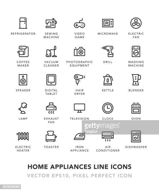 home appliances line icons - electric heater stock illustrations, clip art, cartoons, & icons