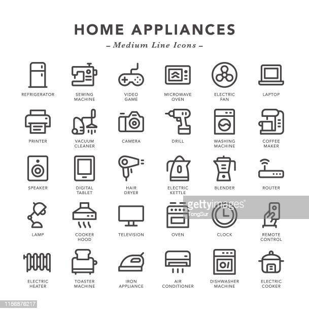 home appliances - medium line icons - electric heater stock illustrations, clip art, cartoons, & icons