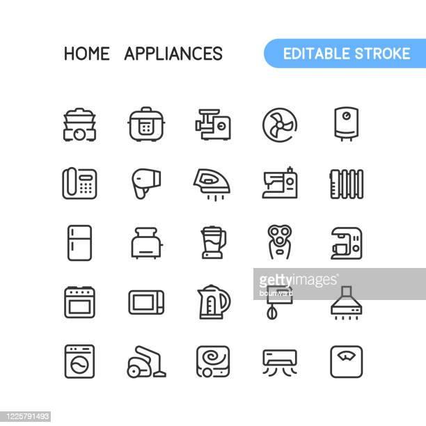 家電のアウトラインアイコン編集可能なストローク - オーブン点のイラスト素材/クリップアート素材/マンガ素材/アイコン素材