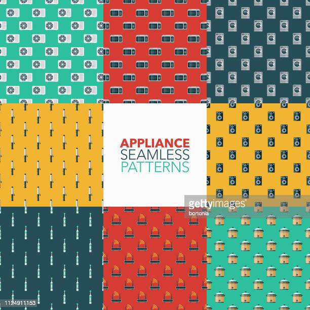 home appliances patterns - electric toothbrush stock illustrations