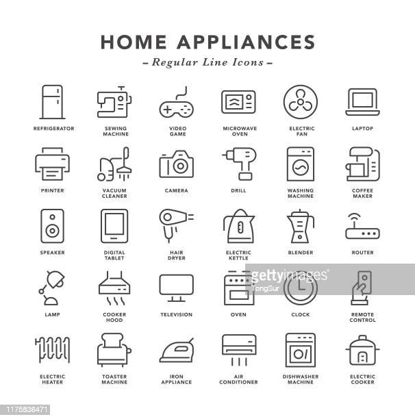home appliances - regular line icons - electric heater stock illustrations, clip art, cartoons, & icons