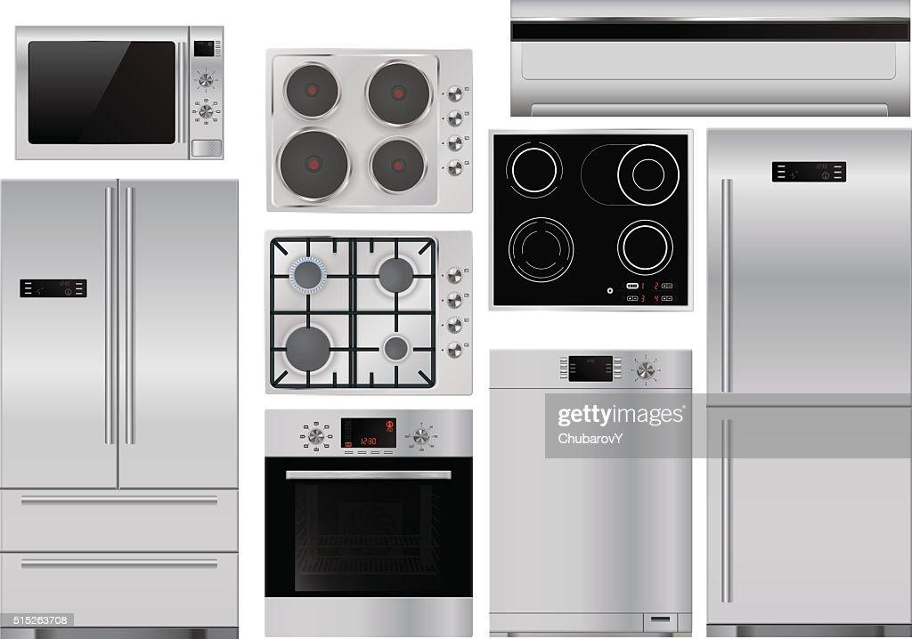 Home appliances: set of household kitchen equipment