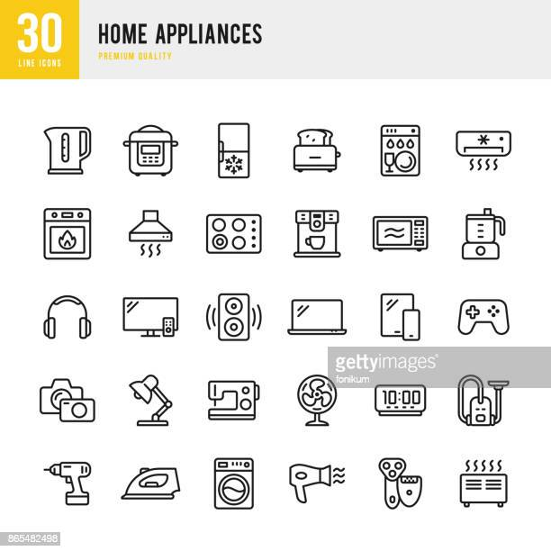 home appliances - set of thin line vector icons - electric fan stock illustrations