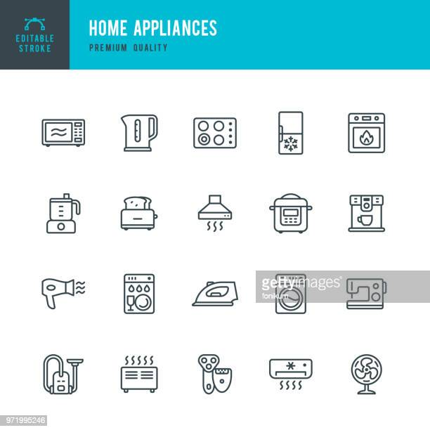 home appliances - set of vector line icons - electric heater stock illustrations, clip art, cartoons, & icons