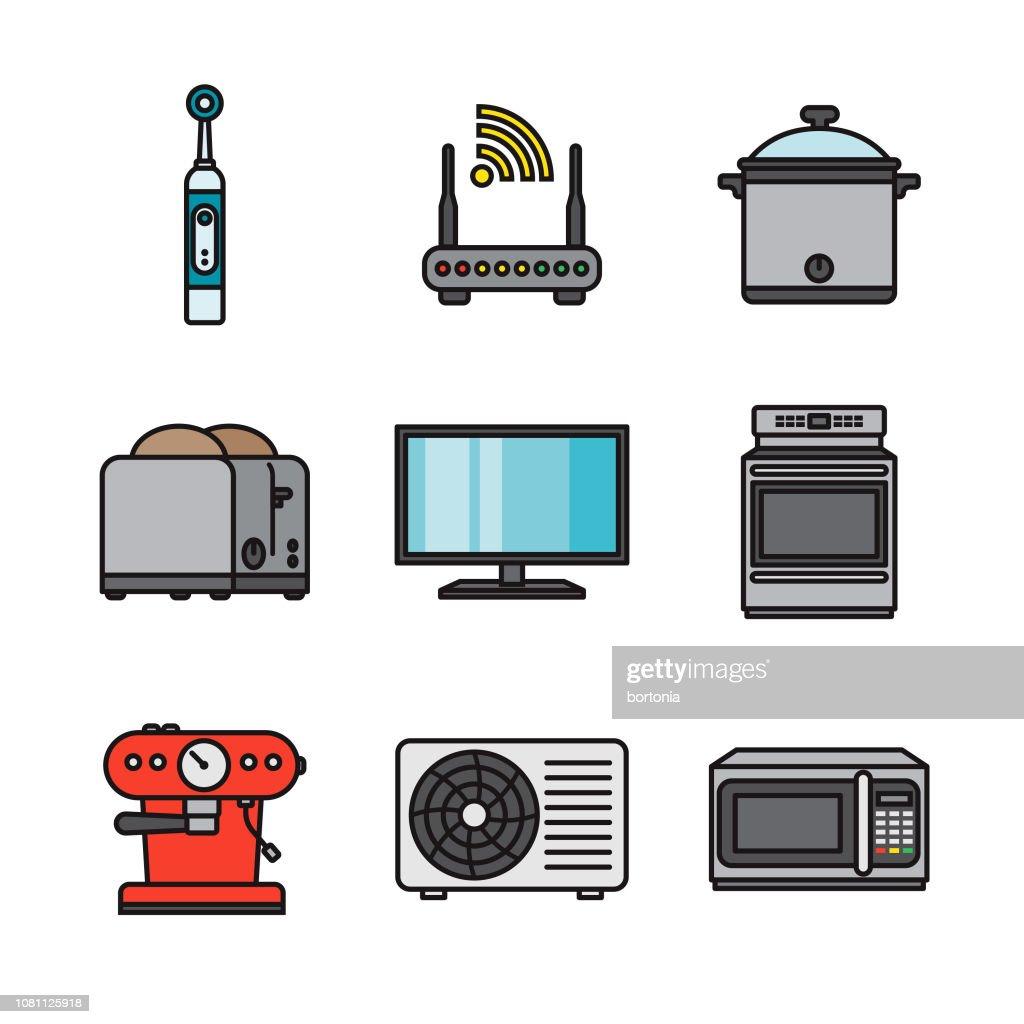 Home Appliances Thin Line Icon Set : stock illustration