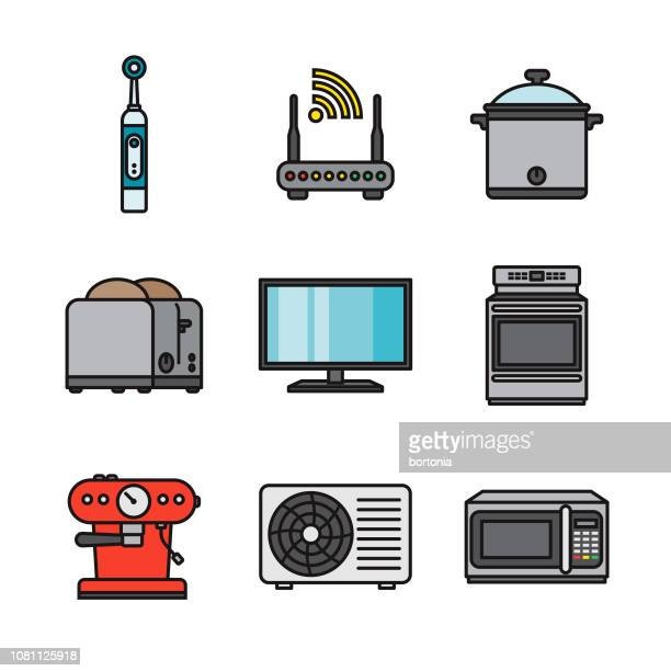home appliances thin line icon set - electric toothbrush stock illustrations