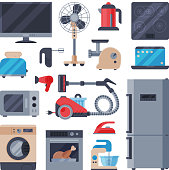 Home appliances vector domestic household equipment kitchen electrical domestic appliances technology for homework illustration