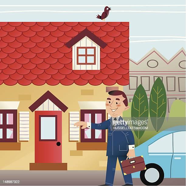illustrations, cliparts, dessins animés et icônes de la maison de famille - hommes d'âge moyen