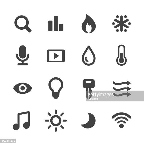 home automation and control icons - acme series - speech recognition stock illustrations