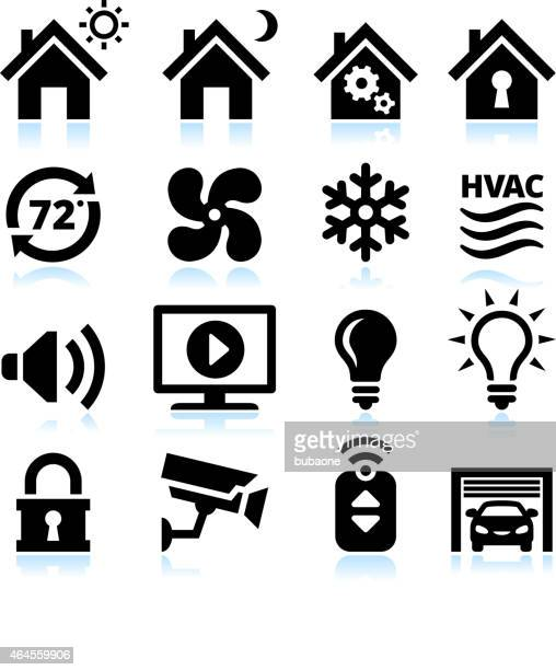 home automation and security interface icons on white background - electric fan stock illustrations, clip art, cartoons, & icons