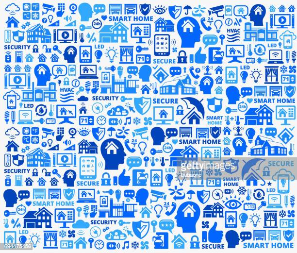 home automation and security technology blue vector icon pattern - volume unit meter stock illustrations, clip art, cartoons, & icons