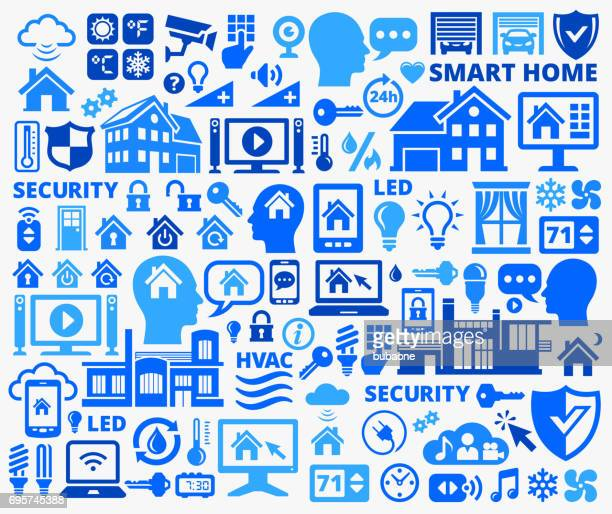 home automation and security technology blue vector icons - volume unit meter stock illustrations, clip art, cartoons, & icons