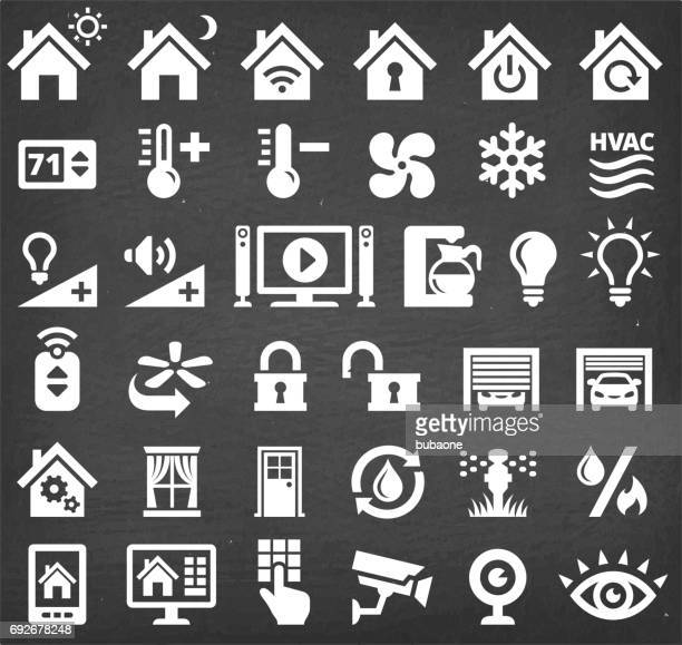 home automation and security technology vector icon set - volume unit meter stock illustrations, clip art, cartoons, & icons