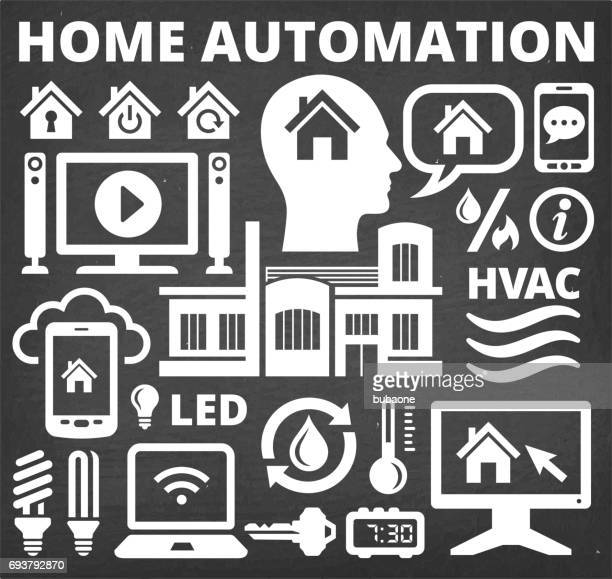 home automation and security technology vector icons - volume unit meter stock illustrations, clip art, cartoons, & icons