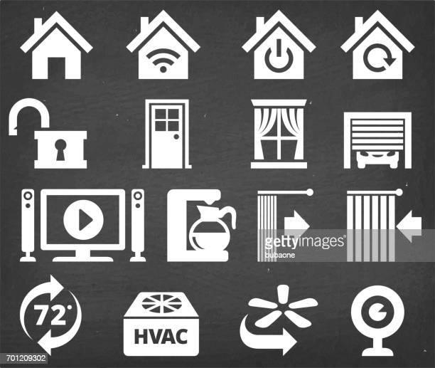 illustrations, cliparts, dessins animés et icônes de jeu d'icônes de l'interface maison appareil automatisation et sécurité - domotique