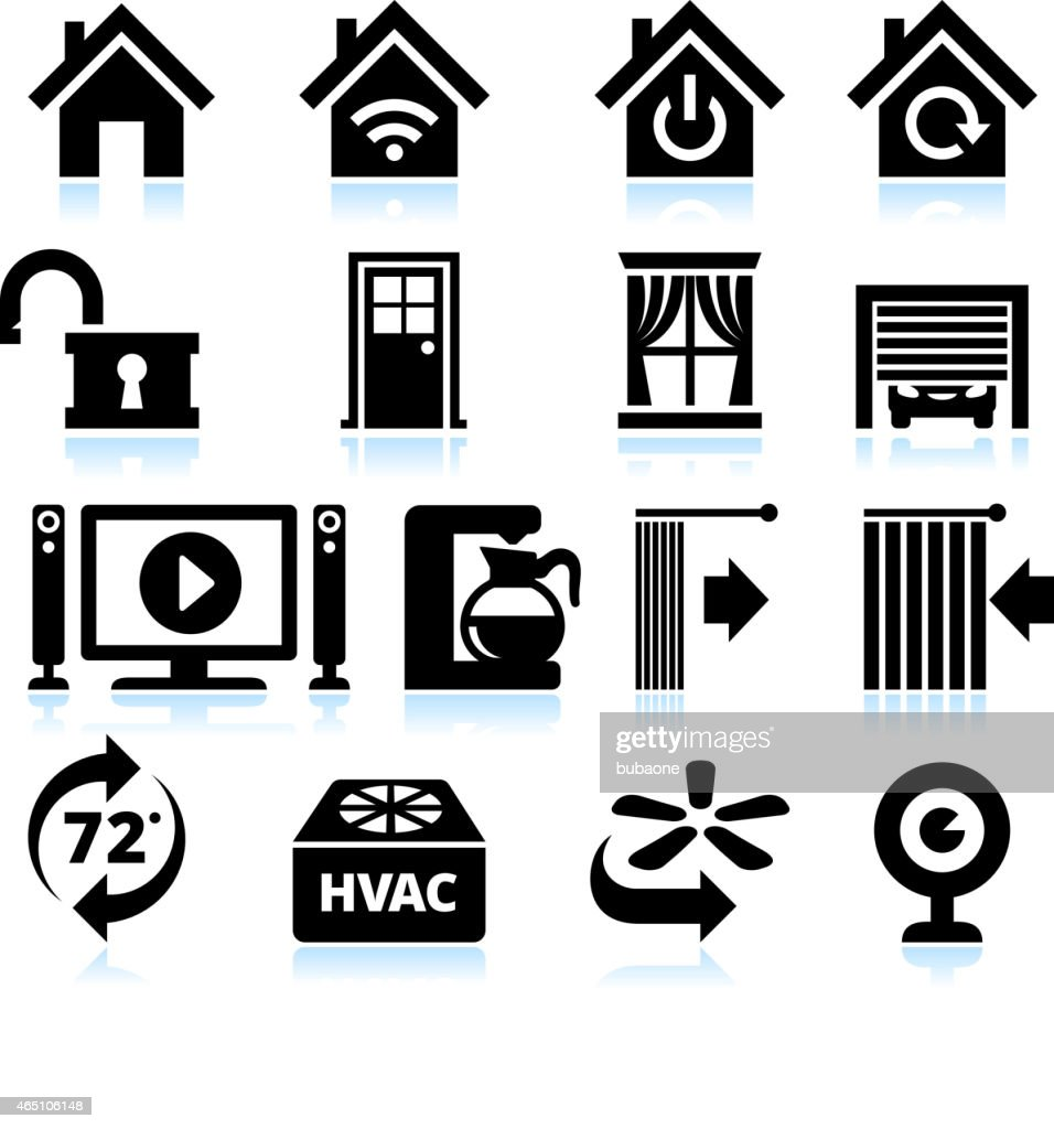 Home Automation Appliance and Security interface icons on White Background