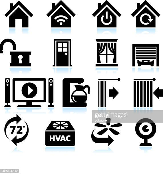 home automation appliance and security interface icons on white background - blinds stock illustrations, clip art, cartoons, & icons