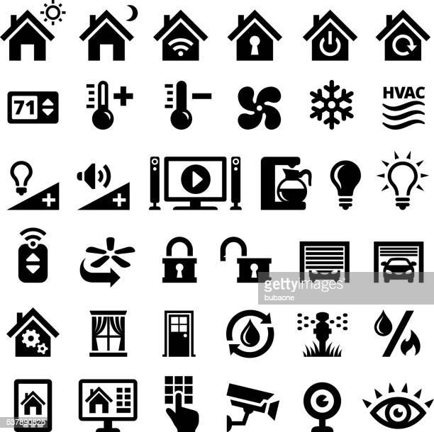 home automation black and white royalty free vector interface icons - sprinkler stock illustrations