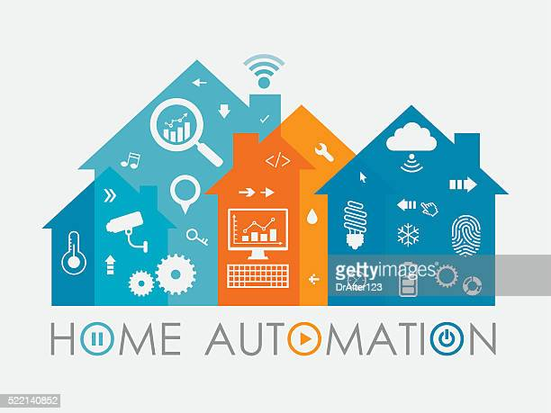 home automation concept including icons set - energy efficient stock illustrations, clip art, cartoons, & icons