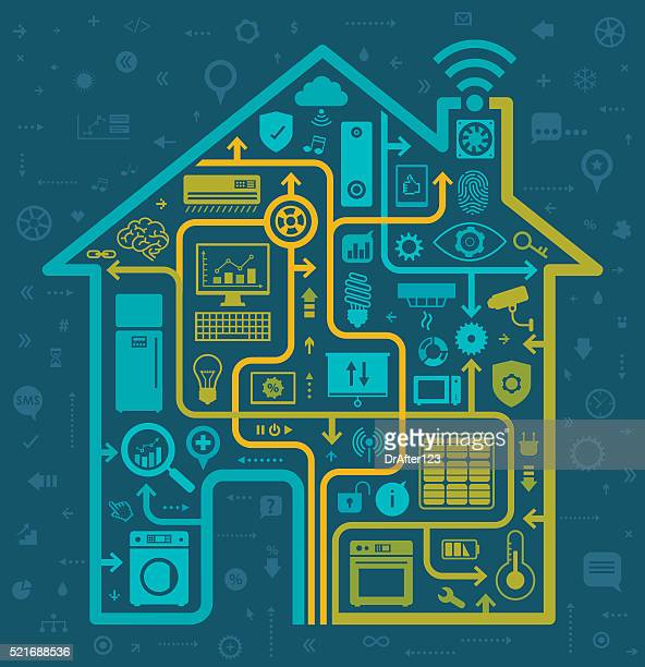 home automation concept - energy efficient stock illustrations, clip art, cartoons, & icons