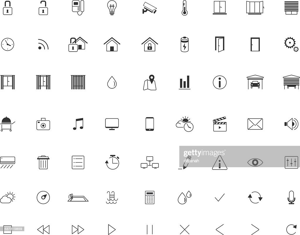 Home Automation Icon set, Smart Home,Thin Minimalistic, Line, Vector